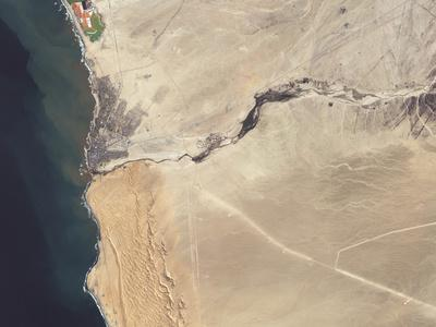 Satellite Image of the Swakop River in the Western Part of Namibia