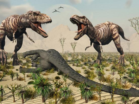'Confrontation Between a Pair of T. Rex Dinosaurs Over a ...