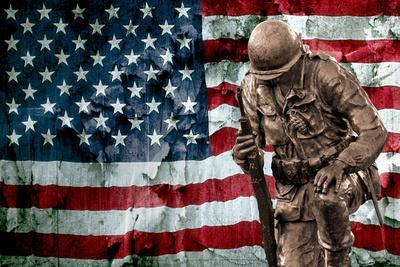 Solider Statue and American Flag by Identical Exposure Poster
