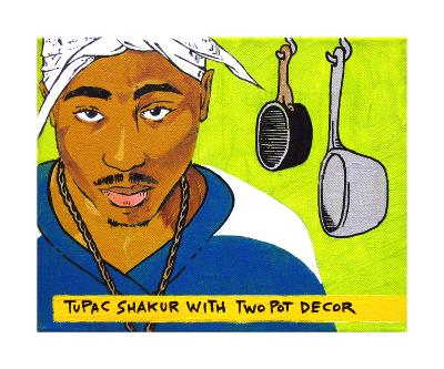 Tupac Shakur With Two Pot Decor
