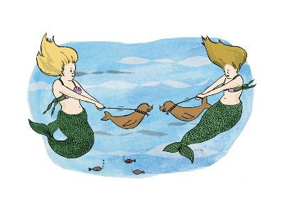 Mermaids holing their sea lion pups away from each other. - Cartoon
