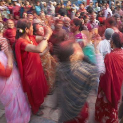 Nepalese Women Celebrating Holi Festival, Bhaktapur, Kathmandu Valley, Nepal