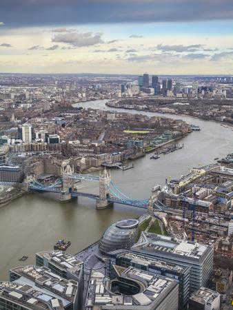 UK, England, London, View of London from the Shard, Looking Over Tower Bridge To Canary Wharf