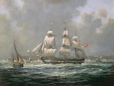 """East Indiaman H.C.S. """"Thomas Coutts"""" Off the Needles, Isle of Wight"""