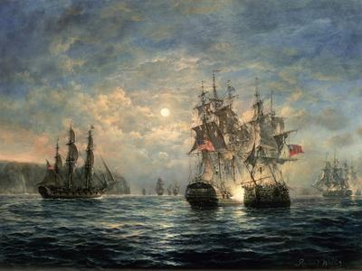 """Engagement Between the """"Bonhomme Richard"""" and the """"Serapis"""" Off Flamborough Head, 1779"""