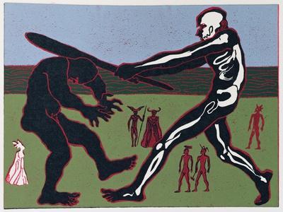 Giant Fafner Kills Fasolt and Takes Gold: Illustration for 'Das Rheingold'