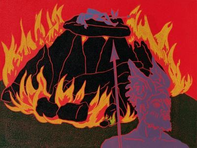 Flames Rise, Wotan Sadly Leaves His Beloved Daughter: Illustration for 'Die Walkure'