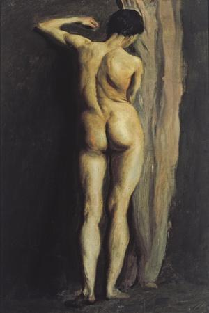 Male Figure Standing by a Pale Brown Curtain, 1898