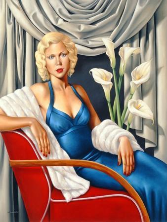 Woman in Sapphire Blue Dress