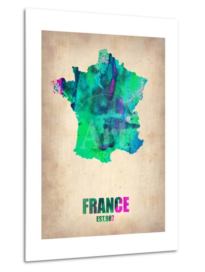 Map France 987.France Watercolor Map Metal Print By Naxart At Allposters Com