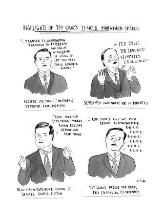 Highlights of Ted Cruz's 21-hour Marathon Speech - Cartoon