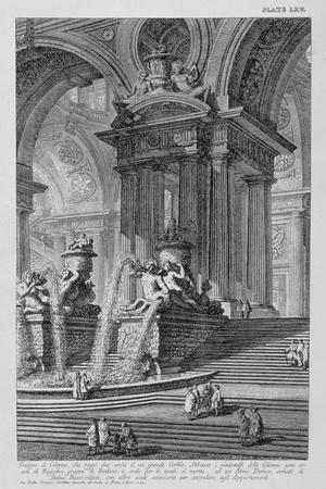 Plate LXV Architectural Capriccio of a Monumental Group of Columns Supporting Two Arches of a…