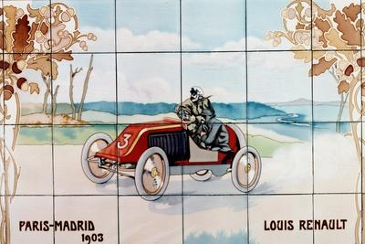 Louis Renault Driving in the Paris to Madrid Race of 1903; Ceramic Tiles Ma