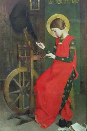 St. Elizabeth of Hungary Spinning Wool for the Poor, C. 1895