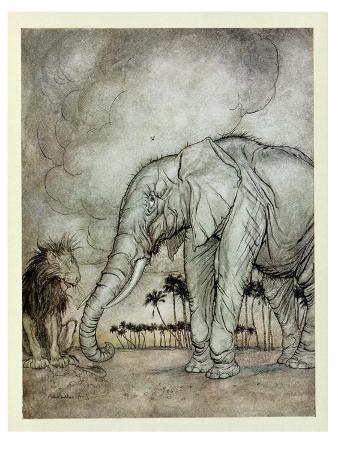 The Lion, Jupiter and the Elephant, Illustration from 'Aesop's Fables', Published by Heinemann,…