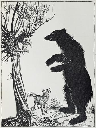 The Bear and the Fox, Illustration from 'Aesop's Fables', Published by Heinemann, 1912