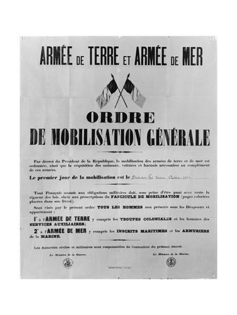 Order of General Mobilisation, 1914