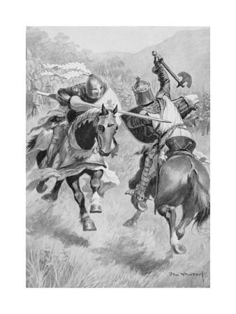 Encounter Between Robert Bruce (1274-1329) and Sir Henry de Bohun (1276-1322) Illustration from…