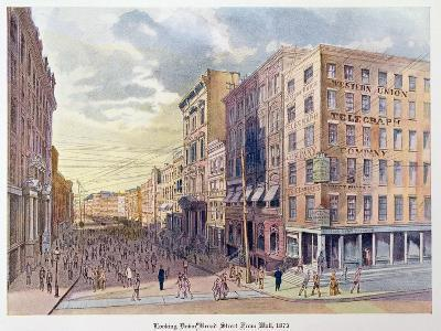 Looking Down Broad Street from Wall in 1873, Illustration from 'Old New York, Yesterday and Today…