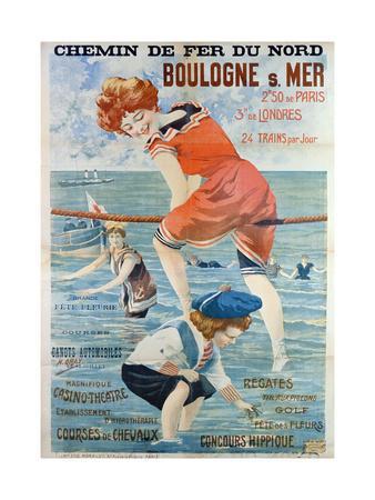 Poster Advertising the Seaside Resort of Boulogne Sur Mer, 1905