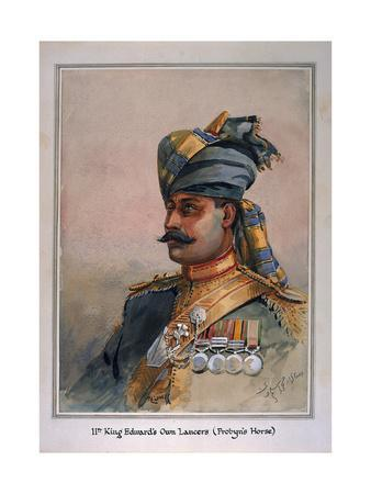 Head and Shoulders Portrait of Risaldar, Durrani, Illustration for 'Armies of India', by Major…