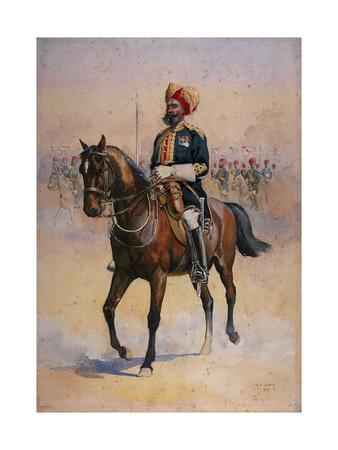 Soldier of the 14th Murray's Jat Lancers, Risaldar-Major, Illustration for 'Armies of India' by…