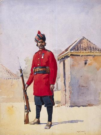 Soldier of the 22nd Punjabis Awan of Shahpur, Illustration for 'Armies of India' by Major G.F.…