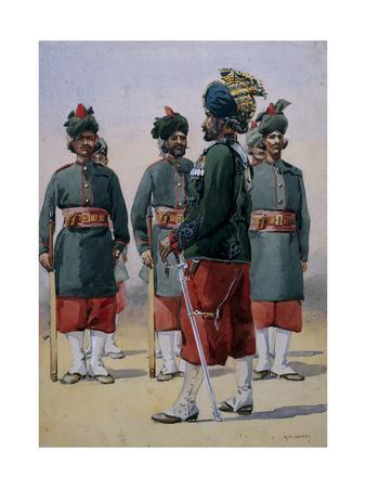 Soldiers of the 127th Queen Mary's Own Baluch Light Infantry, Illustration for 'Armies of India'…