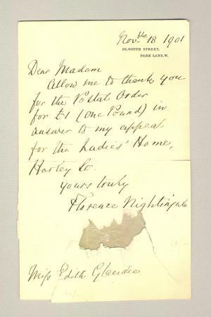 Thank You Note from Florence Nightingale, 18th November 1901