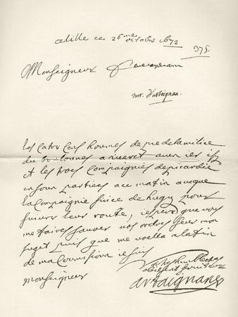 Letter from d'Artagnan to Louvois Concerning a Military Matter, Dated 1672, from 'Memoires de…