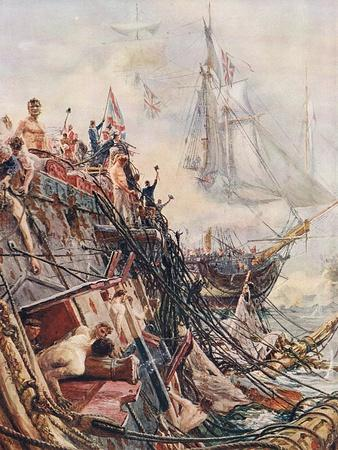 Crippled But Unconquered: The Belleisle at Trafalgar on 21st October 1805, Illustration from…