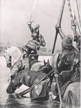 Edward III Crossing the Somme before the Battle of Crecy, Illustration from 'British Battles on…