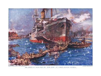 The Landing of Troops from the 'River Clyde' at V Beach, Gallipoli Peninsula, Illustration from…