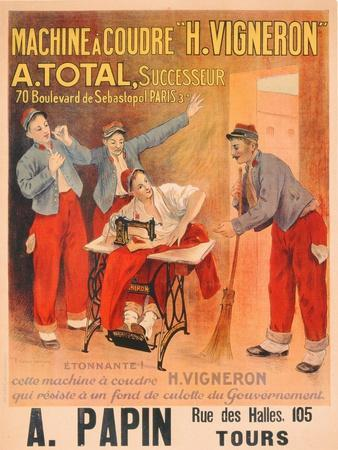 "Machine a Coudre ""H. Vigneron""', Poster Advertising Sewing Machines, c.1902"