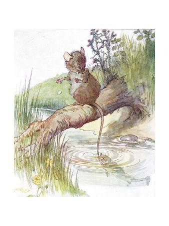 'A Fish Came Along and Gave it a Sharp Nip', Illustration from 'The Mischievious Mousie Book',…