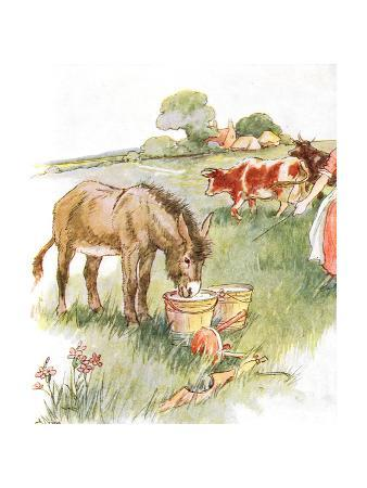 'Saw Two Pails Full of Milk and Had a Long Lovely Drink', Illustration from 'The Naughty Neddy…