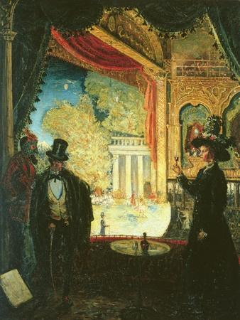 A Scene in a Theatre: a Performance Seen from a Box in Which Three Figures are Standing, 1908