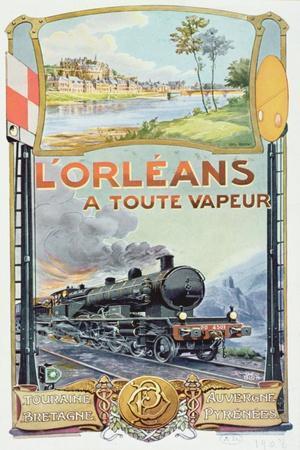Poster Advertising the 'L'Orleans a Toute Vapeur' Railway Service, 1908