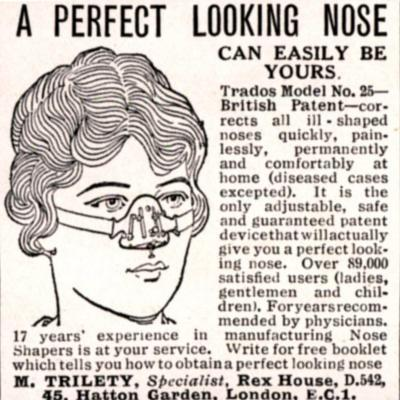 Advertisement for a 'Nose Shaper', 1900s