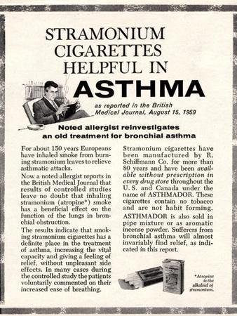 Advertisement for 'stramonium Cigarettes', 1960s