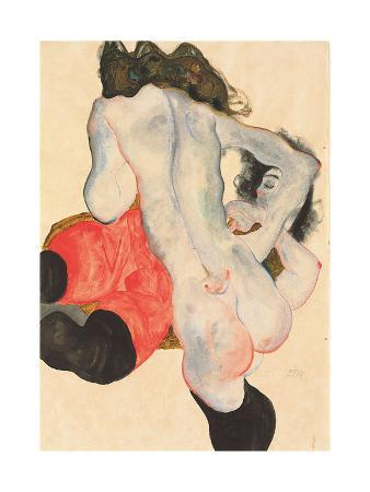 Reclining Woman in Red Trousers and Standing Female Nude, 1912