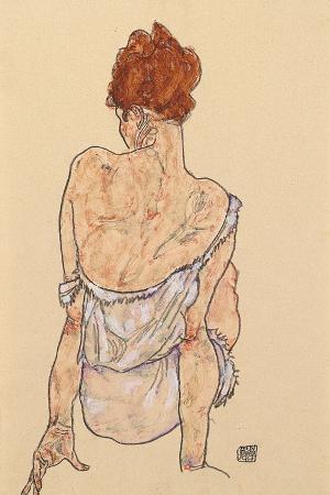 Seated Woman in Underwear, Rear View, 1917