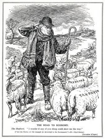 Lloyd George as the 'shepherd' of Great Britain Asks the Tax Payers (Sheep) to Lead the Recovery…
