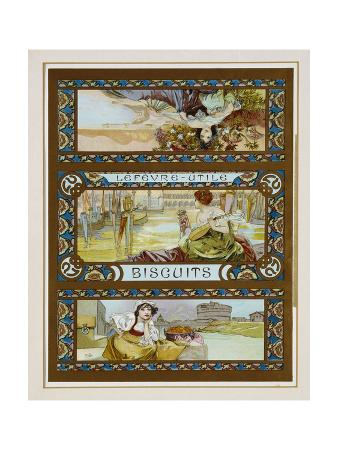 Poster Advertising 'Lefevre-Utile' Biscuits, c.1910