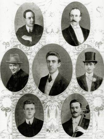 Seven of the Eight Members of the Ship's Band on the Titanic, 1912
