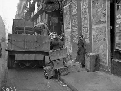 Military Lorries Collecting Rubbish, Paris, 1917