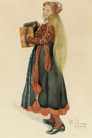 Lisbeth Playing the Accordian, 1909