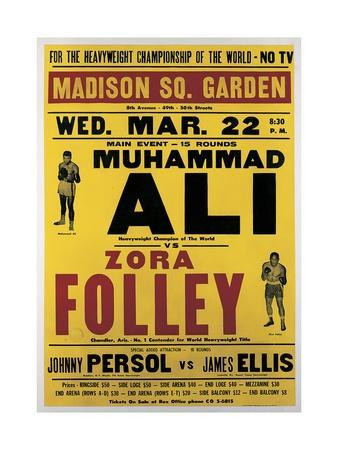 Poster Advertising the Fight Between Muhammad Ali and Zora Folley, Madison Square Garden, 22nd…