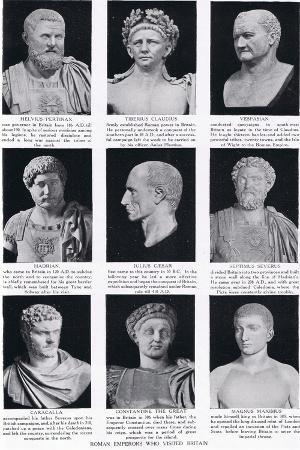 Roman Emperors Who Visited Britain, Illustration from 'Hutchinson's History of the Nations', c.1910