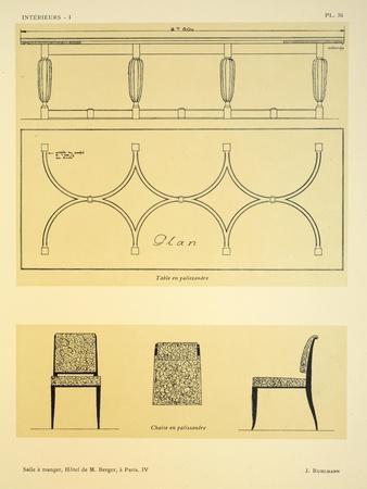 Salle a Manger IV, Hotel de M. Berger, a Paris, Illustration from 'Interieurs' by Leon Moussinac,…